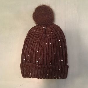 Adorable girl's brown winter hat